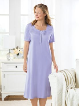 Cotton/Modal Knit Solid Short-Sleeve Nightgown