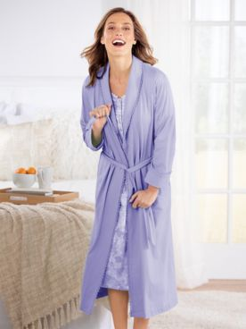 Cotton/Modal Knit Solid Wrap Robe