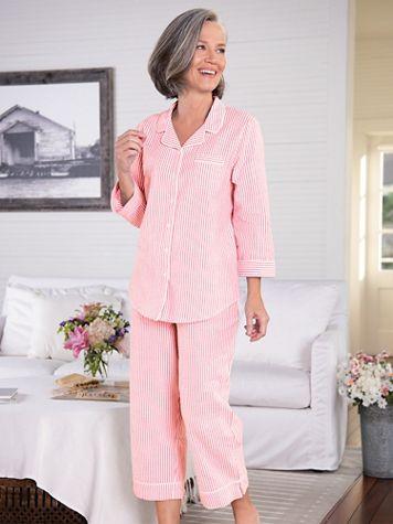 Seersucker Stripe Capri Pajamas - Image 1 of 4