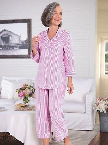 Seersucker Stripe Capri Pajamas - Image 3 of 3