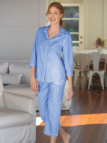 Mini Gingham Cotton Lawn Pajamas - Image 1 of 3