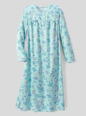 Paisley Garden Brushed-Back Satin Long-Sleeve Night Gown