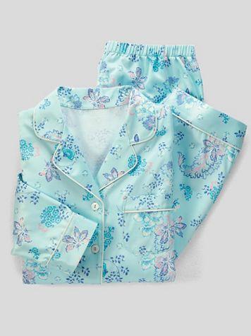 Paisley Garden Brushed Back Satin Pajamas - Image 2 of 2