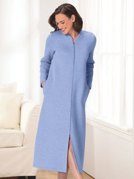 Moonlit Solid Quilted Cotton-Knit Zip-Front Robe