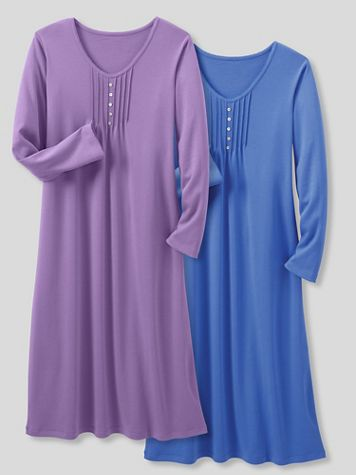 Moonlit Solid Cotton-Knit Long-Sleeve Nightgown - Image 1 of 3