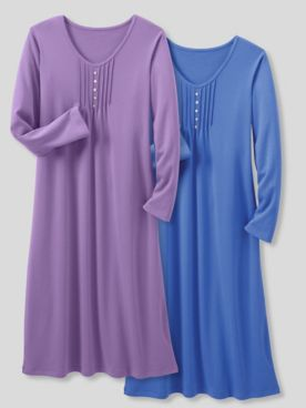 Moonlit Solid Cotton-Knit Long-Sleeve Nightgown