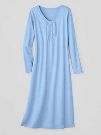 Moonlit Solid Cotton-Knit Long-Sleeve Nightgown - Image 2 of 2