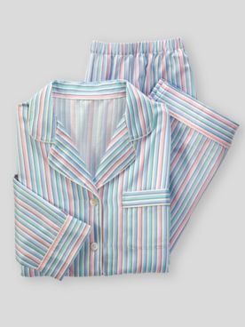 Brushed-Back Striped Satin Pajamas