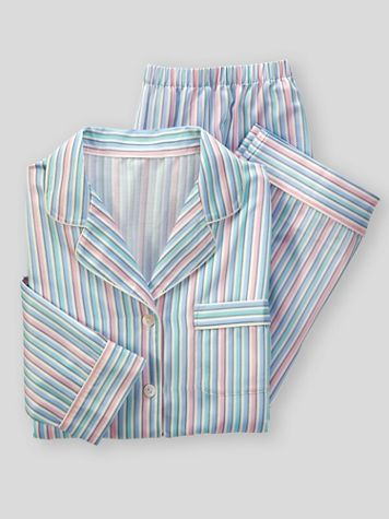 Brushed-Back Striped Satin Pajamas - Image 2 of 2
