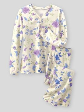 Moonlit Floral-Print Cotton-Knit Pajamas