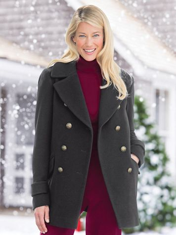 Wool Pea Coat by Larry Levine - Image 1 of 6