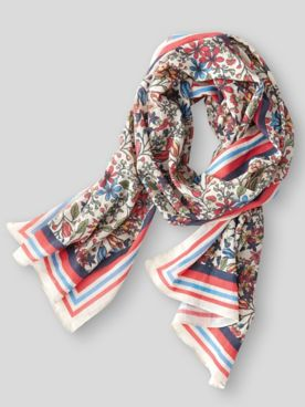 Bittersweet Floral-Print Cotton Oblong Scarf