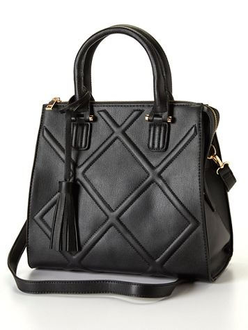Quilted Vegan Leather Satchel - Image 0 of 5
