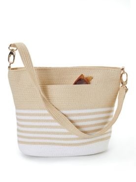 Magid Striped Straw Shoulder Bag