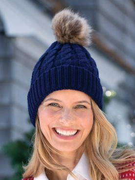 Cabled Knit Pom-Pom Hat