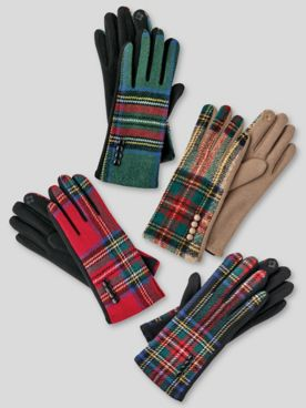 Tartan Plaid Stretch-Knit Touchscreen Texting Gloves