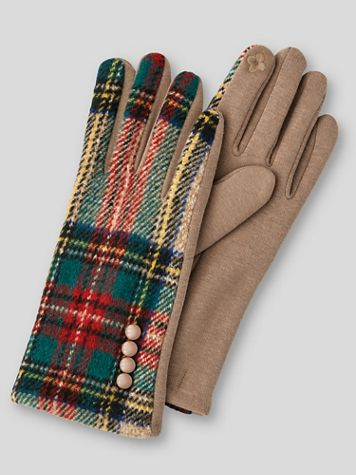Tartan Plaid Stretch-Knit Touchscreen Texting Gloves - Image 2 of 2