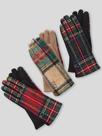 Tartan Plaid Leather-Palm Gloves - Image 1 of 4