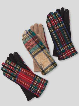 Tartan Plaid Leather-Palm Gloves
