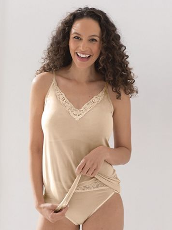 Lace-Trim Silk-Knit Camisole - Image 1 of 4
