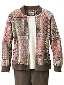 Patchwork Bomber Jacket by Alfred Dunner