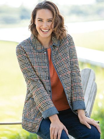Reversible Plaid Quilted-Cotton Jacket