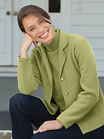 Retro Vintage Sweaters Notched Collar Boiled Wool Jacket $39.97 AT vintagedancer.com