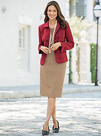 Stretch Wool Gabardine Straight Skirt
