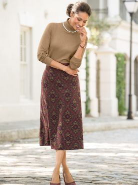Paisley Suedecloth Boot Skirt