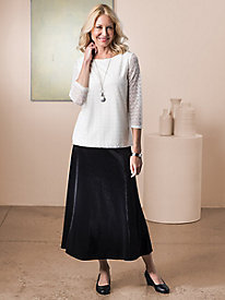Knit Velvet Pull-On Skirt
