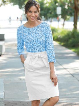 Dennisport Topstitch Tie Waist Skirt