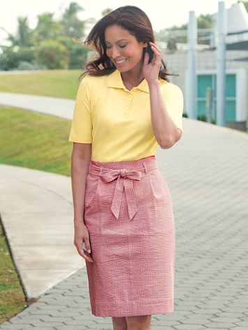 Seersucker Stripe Tie Waist Skirt - Image 1 of 6