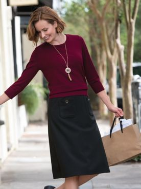 Ponte Knit Button-Cotton Skirt