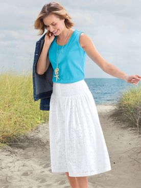 Cotton Eyelet Midi Skirt