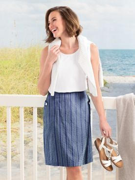 Seersucker Stripe Skirt