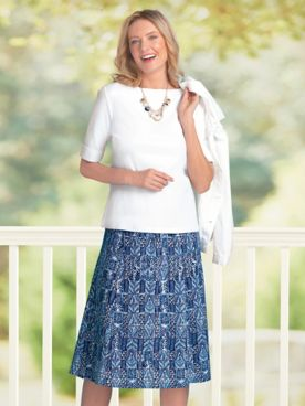 Batik-Block Crinkle Skirt