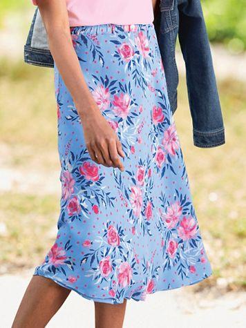 Jacobean Floral-Print Reversible Pull-On Skirt