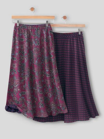 Jacobean Floral-Print Reversible Pull-On Skirt - Image 3 of 3