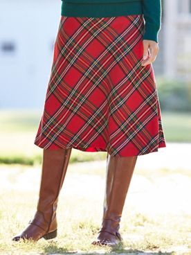 Bias Tartan Plaid Midi Skirt
