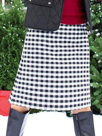 Buffalo Check A-Line Knit Skirt