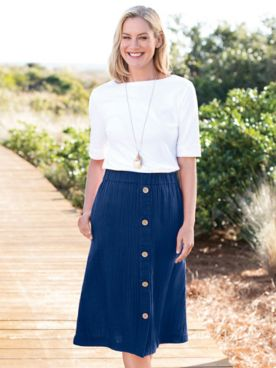 Nantucket Textured-Cotton Midi Skirt