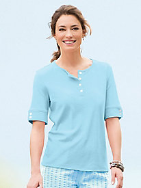 Button-Cuff Elbow-Sleeve Henley