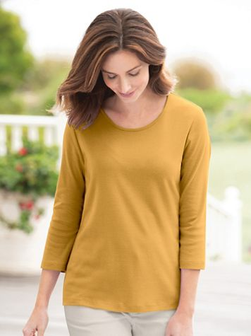 Coastal Cotton 3/4-Sleeve Scoopneck Tee - Image 1 of 23