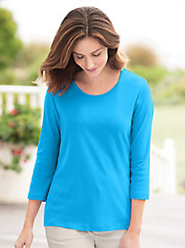 Coastal Cotton 3/4-Sleeve Scoopneck Tee by Appleseed's