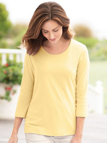 Coastal Cotton 3/4-Sleeve Scoopneck Tee - Image 1 of 20