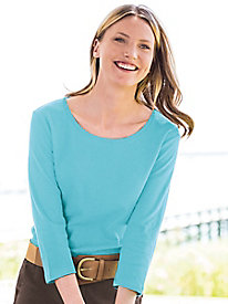 Coastal Cotton 3/4-Sleeve Scoopneck Tee