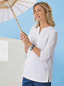 Eyelet 3/4-Sleeve Tunic by Koret