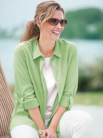 Tab-Sleeve Crinkle Cotton Shirt - Image 1 of 1