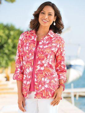 Island Floral Crinkle Big Shirt