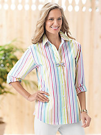 Multi-Stripe Long-Sleeve Shirt by Foxcroft